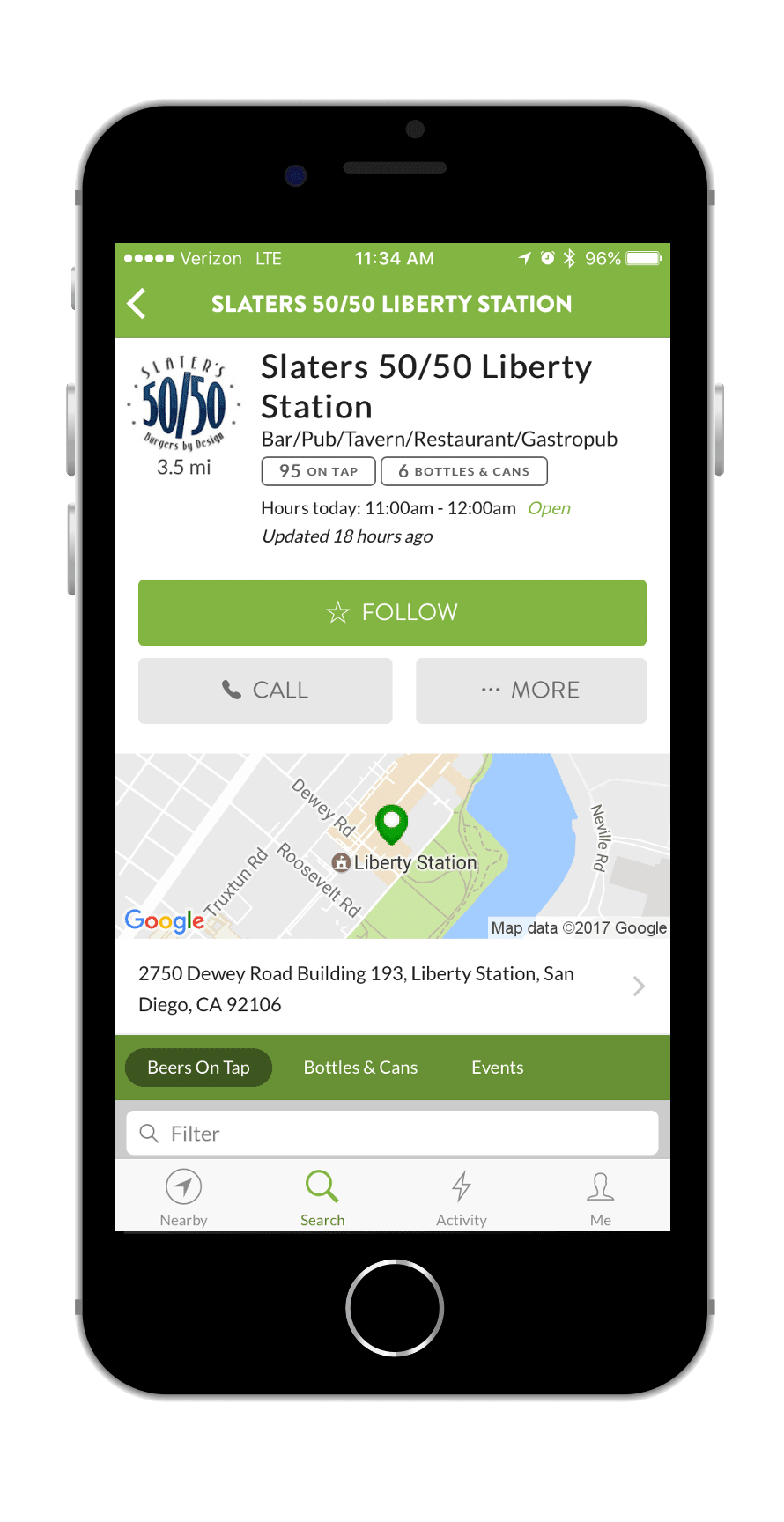 TapHunter App Location Screen