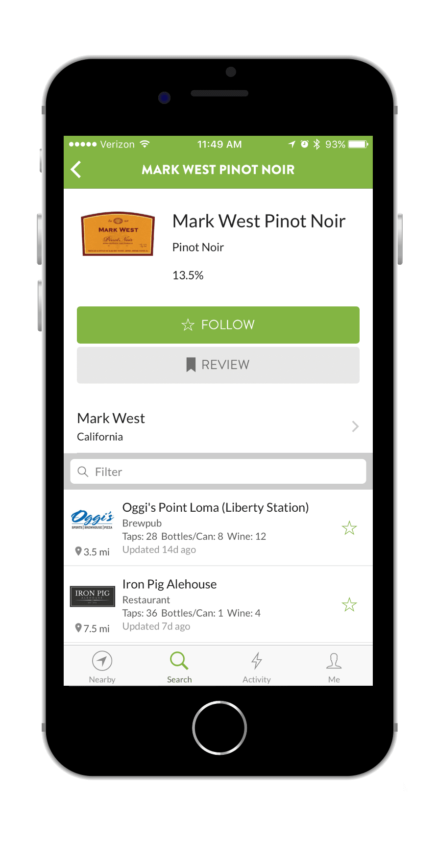 TapHunter App Wine Screen